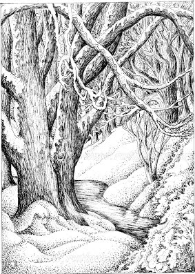 SnowyWoodland-pen-and-ink